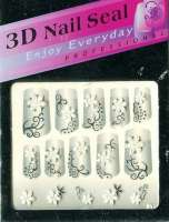 "Наклейки ""Белые с серебром"" 3 D Nail Seal № 18"