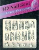 "Наклейки ""Белые с серебром"" 3 D Nail Seal   № 5"