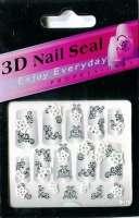 "Наклейки ""Белые с серебром"" 3 D Nail Seal № 25"
