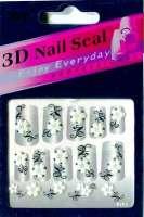 "Наклейки ""Белые с серебром"" 3 D Nail Seal № 23"