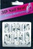 "Наклейки ""Белые с серебром"" 3 D Nail Seal  № 27"