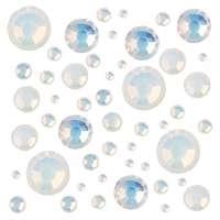 Стразы цветные микс размеров в баночке №9 (White Opal)