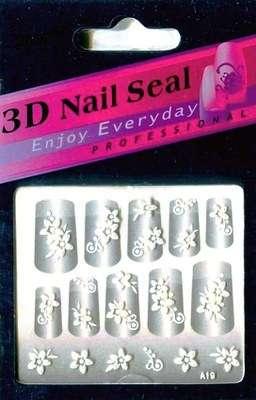 "Наклейки ""Белые"" 3 D Nail Seal  № 19"