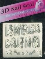 "Наклейки ""Белые с серебром"" 3 D Nail Seal № 19"