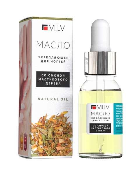 Milv Укрепляющее масло для ногтей со смолой мастикового дерева Natural Oil, 15 мл.