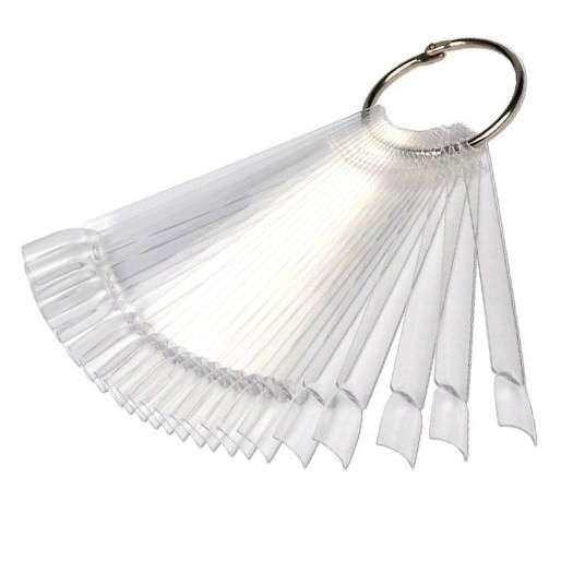 Палитра-веер, для лаков и дизайна, прозрачная с кольцом, 50 шт.