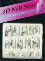 "Наклейки ""Белые с серебром"" 3 D Nail Seal № 14"