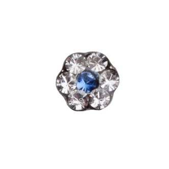 Studex PR-LD 6049 W Цветок прозрачный с синей вставкой в индивидуальной упаковке, сталь, размер L