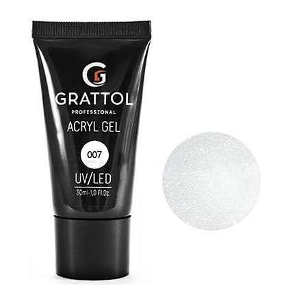 Grattol, Acryl Gel Glitter  Акригель молочный камуфлирующий с шиммером №07, 30 мл