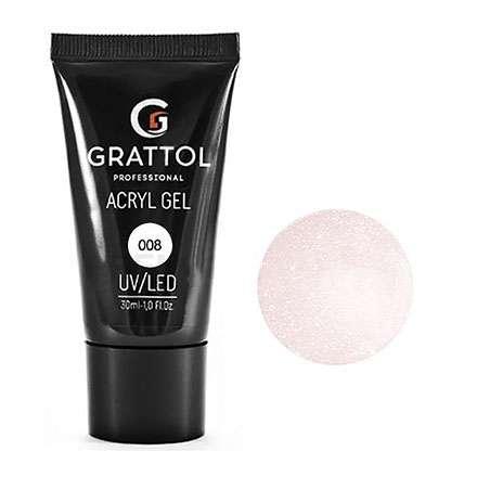 Grattol, Acryl Gel Glitter  Акригель розовый  камуфлирующий с шиммером №07, 30 мл