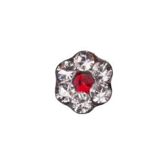 Studex PR-LD 6047 W Цветок прозрачный с красной вставкой в индивидуальной упаковке, сталь, размер L