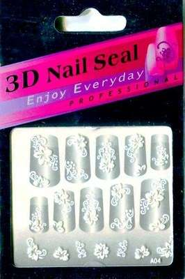 "Наклейки ""Белые"" 3 D Nail Seal  № 4"