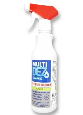 МультиДез-Тефлекс, Средство для дезинфекции и мытья поверхностей с триггером, С отдушкой Яблоко - 0,5 л.