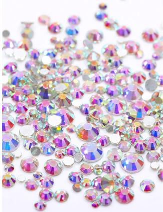 Стразы Crystal Mix размеров голографические Violet Aurora