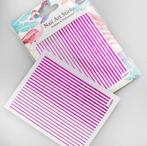 Гибкая лента для дизайна ногтей фуксия голография