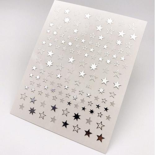"""Наклейки """"Звезды"""", для ногтей, серебро."""