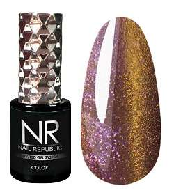 Nail Republic  Гель-лак CAT-24, 3D Gold green pink, 10 мл.