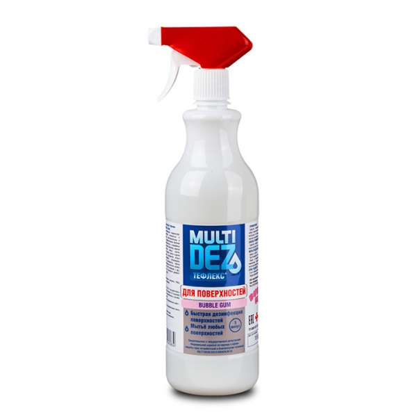 МультиДез-Тефлекс, Средство для дезинфекции и мытья поверхностей с триггером, С отдушкой Бабл Гам - 0,5  л.
