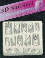 "Наклейки ""Белые с серебром"" 3 D Nail Seal   № 20"