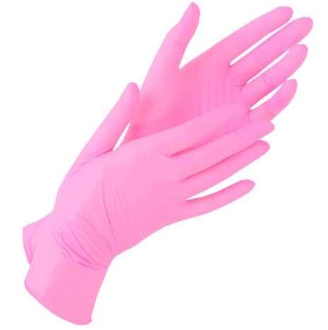 Перчатки нитриловые, розовые, размер М, 100 шт.