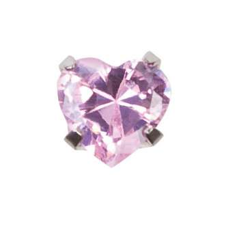 Серьги Studex 7522-0885 Сталь, вставка - куб окись циркония, розовое сердце 5мм