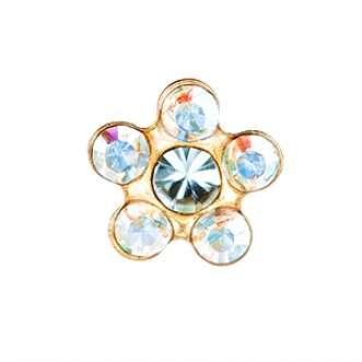 Серьги Studex 7511-6153 Сталь с золотым покрытием, цветок радужное стекло