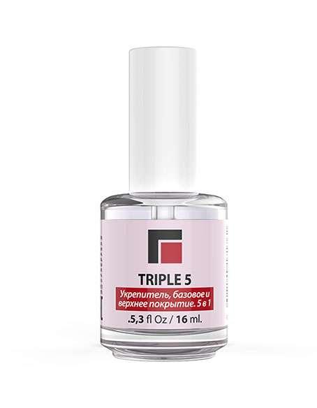 MILV TRIPLE 5 Укрепитель ногтей, базовое и верхнее покрытие. 5 в 1. 16 мл.