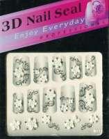 "Наклейки ""Белые с серебром"" 3 D Nail Seal № 22"