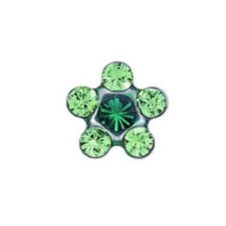Серьги Studex 7512-6085 Цветок салатово-зеленый в серебре