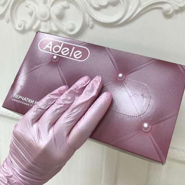 Adele Перчатки нитриловые розовый перламутр, размер M, 100 шт.