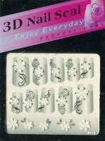 "Наклейки ""Белые с серебром"" 3 D Nail Seal   № 16"