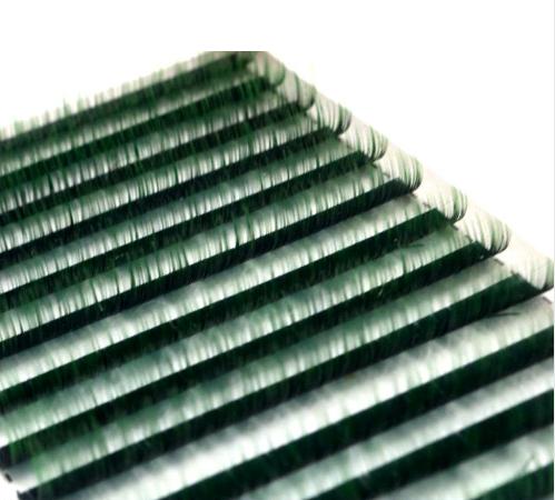 Lotus, Ресницы на ленте MIX (6 полос) Черные с зеленым кончиком, (0,07) D-изгиб