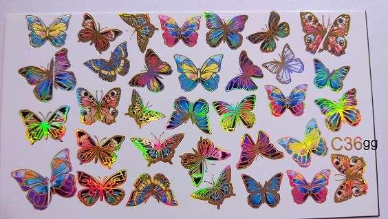 "Ami_nails Слайдер-дизайн ""Бабочки"" c36gg"