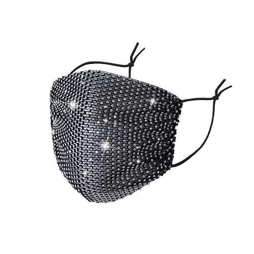 Fashion Mask Маска многоразовая, Черная с белыми стразми