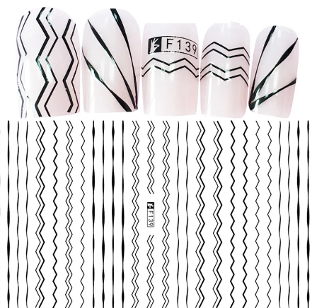 Hand Mini Наклейки для ногтей F139 самоклеющиеся, черные