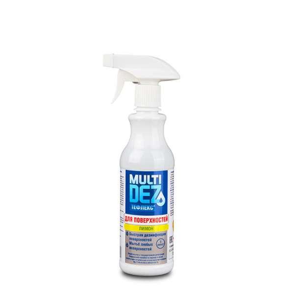 МультиДез-Тефлекс, Средство для дезинфекции и мытья поверхностей с триггером, С отдушкой Лимон - 0,5  л.