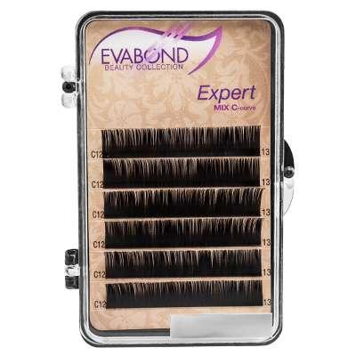 Evabond Expert, Ресницы для наращивания (6 полос), 0.12 C-изгиб, 12 мм.