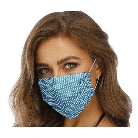 Fashion Mask Маска со стразами многоразовая, Голубая