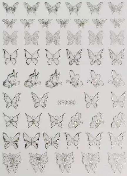 JOYFUL NAIL  Стикеры бабочки самоклеющиеся, голографическое серебро