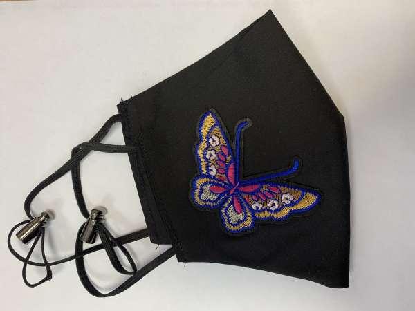 Маска с аппликацией бабочка многоразовая, черная