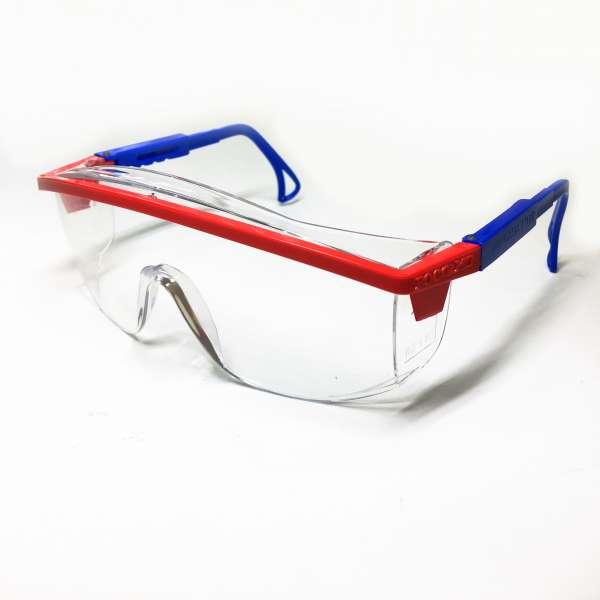 Очки защитные с регулируемыми дужками (красно-синяя оправа)