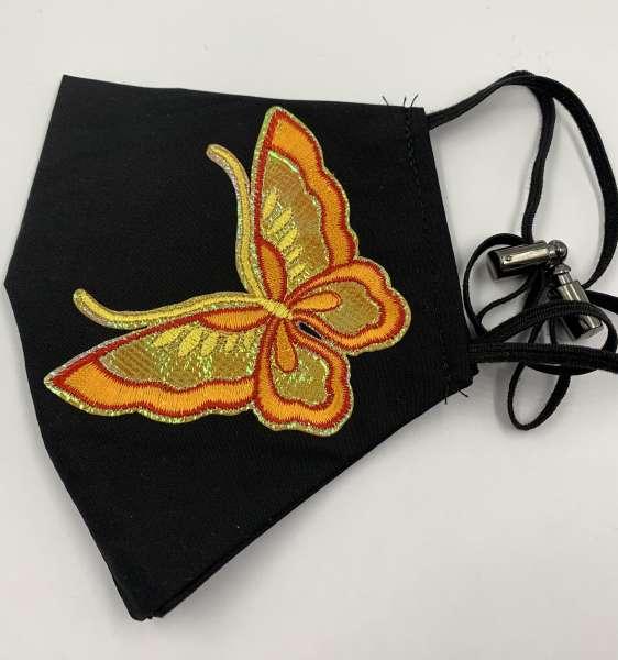 Маска с аппликацией оранжевая бабочка многоразовая, черная
