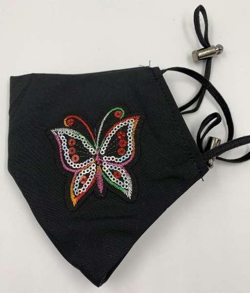 Маска с аппликацией цветная бабочка многоразовая, черная