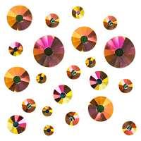 Стразы трехцветные микс размеров в баночке №1 (Topaz Aurora)