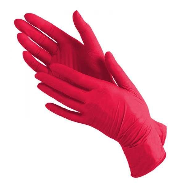 Benovy, Перчатки нитриловые, красные, размер M, 100 шт.