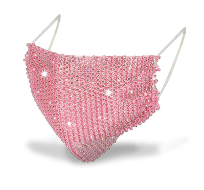 Fashion Mask Маска со стразами многоразовая, Персиковая