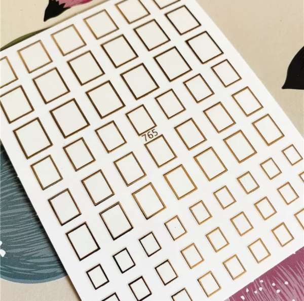 Наклейки гибкие для ногтей квадрат, розовое золото