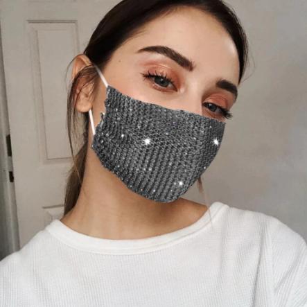 Fashion Mask Маска со стразами многоразовая, Серая