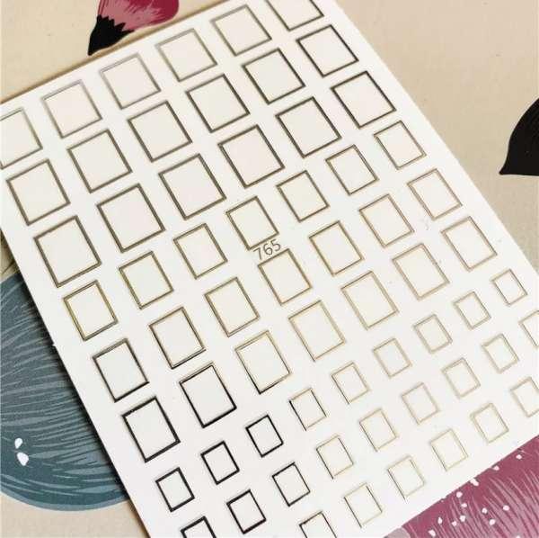 Наклейки гибкие для ногтей квадрат, серебро