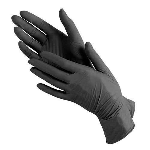 Benovy, Перчатки нитриловые, черные, размер L, 50 пар